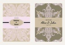 Weinleseblumenabwehr die Datums- oder Hochzeitseinladungskartensammlung Romantische Kartenschablone des Retro- Vektors Stockfotos