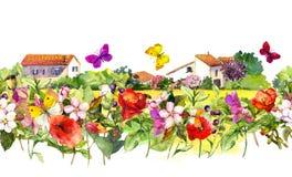 Weinleseblumengrenze - Landschaftshäuser Aquarellsommerblumen, Schmetterlinge Nahtloses Feld Stockfotos