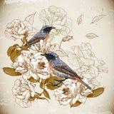 Weinleseblumenhintergrund mit Vögeln Stockbilder