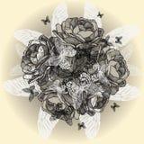 Weinleseblumenhintergrund von Rosen, Schmetterlinge, h stock abbildung
