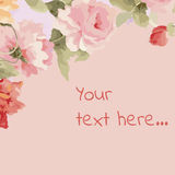 Weinleseblumenkarte mit Blumen Stockbild