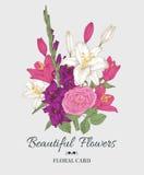 Weinleseblumenkarte mit Blumenstrauß von Lilien, Gladiole und stieg Stockfotografie