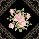 Weinleseblumenkarte mit Rosen Stockfotos