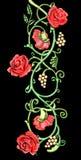 Weinleseblumenmotiv der roten Rosen Lizenzfreies Stockfoto