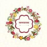 Weinleseblumenrahmen Blumen-Kranz - Illustration Lizenzfreies Stockfoto