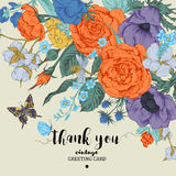 Weinleseblumenvektorkarte mit Rosen, Anemonen und Schmetterling Lizenzfreie Stockfotografie