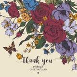 Weinleseblumenvektorkarte mit Rosen, Anemonen und Schmetterling Stockfotos