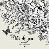 Weinleseblumenvektorkarte mit Rosen, Anemonen und Schmetterling Lizenzfreie Stockfotos