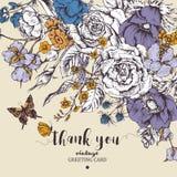 Weinleseblumenvektorkarte mit Rosen, Anemonen und Schmetterling Stockfoto