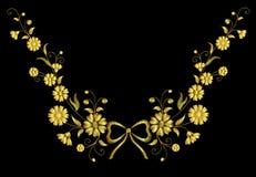 Weinlesebogen des Stickereiblumenhalskettenverzierungsfeldes rustikaler Gold lizenzfreie abbildung