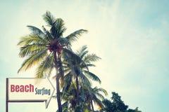 Weinlesebrandungs-Strand Signage und KokosnussPalme auf blauem Himmel des tropischen Strandes Lizenzfreies Stockfoto