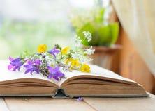 Weinlesebuch mit Blumenstrauß der Wiese blüht, nostalgischer Weinlesehintergrund lizenzfreies stockfoto