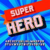 Weinlesebuchstaben des Superhelden 3D Stockfotos