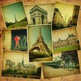 Weinlesecollage. Paris-Reise. Lizenzfreie Stockbilder