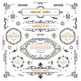 Weinlesedekorations-Lockenelemente Klassische kalligraphische Verzierungen, Rahmen, Aufkleber Stockfotografie