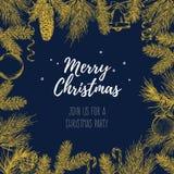Weinlesedesign für Grußkarte oder Einladung für Weihnachtsfeier Vektorrahmen mit Hand gezeichneten Elementen: Niederlassungen von Lizenzfreie Stockfotos