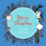 Weinlesedesign für Grußkarte oder Einladung für Weihnachtsfeier Vektorrahmen mit Hand gezeichneten Elementen: Niederlassungen von Stockbilder