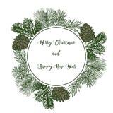 Weinlesedesign für Grußkarte oder Einladung für Weihnachten cel Lizenzfreie Stockfotos
