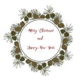 Weinlesedesign für Grußkarte oder Einladung für Weihnachten cel Lizenzfreie Stockfotografie