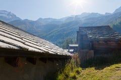 Weinlesedorf, Wallis-Alpen, die Schweiz Stockfotografie