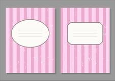 Weinleseeinladungskarte mit rosa Streifen Stockfoto