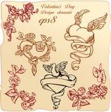 Weinleseelemente und -vignetten für Valentinsgruß `s Tag Lizenzfreie Stockbilder