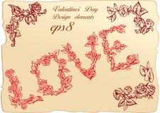 Weinleseelemente und -vignetten für Valentinsgruß `s Tag Lizenzfreie Stockfotos