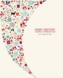 Weinleseelementzusammensetzung der frohen Weihnachten Lizenzfreies Stockbild