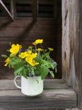Weinleseemailbecher mit kleinem Blumenstrauß von Butterblumeen Stockfoto
