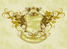 Weinleseemblem - Blumenverzierung auf grunge Hintergrund lizenzfreie abbildung