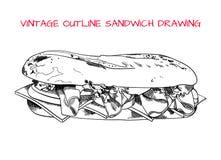 Weinleseentwurfs-Sandwichskizze, VEKTOR-Illustration vektor abbildung