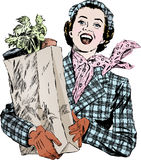 Weinlesefünfziger jahre Frau mit Lebensmittelgeschäften Lizenzfreie Stockfotos