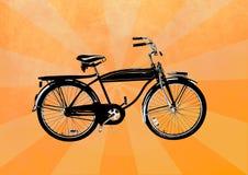Weinlesefahrrad auf einem gelben Hintergrund lizenzfreie abbildung