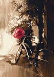 Weinlesefahrrad mit rotem Hut stock abbildung