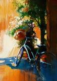 Weinlesefahrrad und alter Hut am Sommertag vektor abbildung