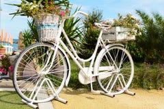 Weinlesefahrrad und -Vasen, die im Garten parken Stockfotografie