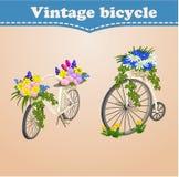 Weinlesefahrradkarte mit Frühling und Blumen stock abbildung
