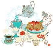 Weinlesefarbmorgen-Teehintergrund Stockbilder