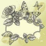 Weinlesefeld mit blühenden Rosen und Basisrecheneinheiten, Lizenzfreie Stockfotos