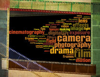 Weinlesefilm mit buntem Hintergrund der Kameraphotographie Lizenzfreie Stockbilder
