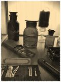 Weinleseflaschenfoto des Chloroforms Stockbild