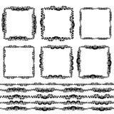 Weinleseflorenelemente, schwarz auf weißem Hintergrund Schablone für Ihre Auslegung Benutzte Musterbürsten eingeschlossen nahtlos Stockfotos