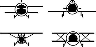 Weinleseflugzeug-Ikonensatz Stockbilder
