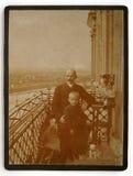 Weinlesefoto des Vaters und des Sohns Stockfotos