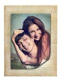 Weinlesefoto eines jungen Paares in der Liebe Lizenzfreies Stockbild