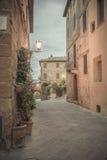 Weinlesefoto mit italienischer Stadt Stockfotografie