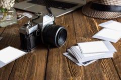 Weinlesefotokamera Unbelegte Foto-Felder Stockfoto