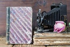 Weinlesefotokamera und alte Bücher Stockfotografie