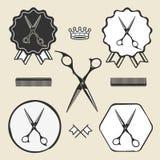 Weinlesefriseursalon scissors Symbolemblemaufkleber Stockbilder