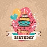 Weinlesegeburtstags-Grußkarte mit großer Kuchenvektorillustration Stockfoto